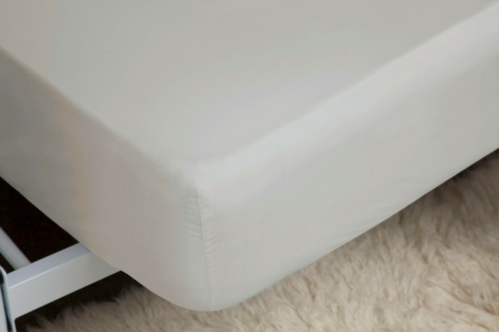 450 Thread Count Pima Cotton Deep SuperKönig Fitted Sheet Platinum grau 38cm