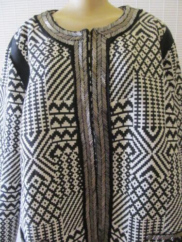 motif géométrique manches et ornements Couture Nwt 1 Veste à Sharif longues Taille à à vt1ftFzqw