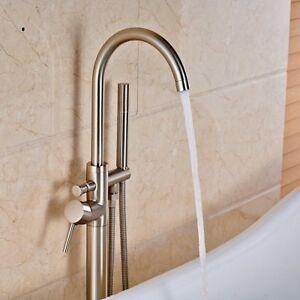 Freestanding Tub Filler Brushed Nickel.Details About Brushed Nickel Bathroom Tub Faucet Free Standing Tub Filler Mixer W Hand Shower