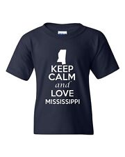 Keep Calm And Love Mississippi State Novelty Statement Youth Kids T-Shirt Tee