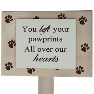 Pet-Memorial-Plaque-Marker-Pawprints-on-Heart-Suitable-For-Dog-Cat-Wood-F1190B