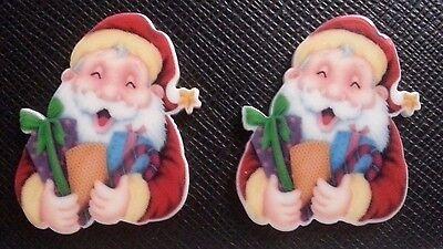 2 x Traditional Father Christmas Flatback Planar Resins Santa Flat Back Resin