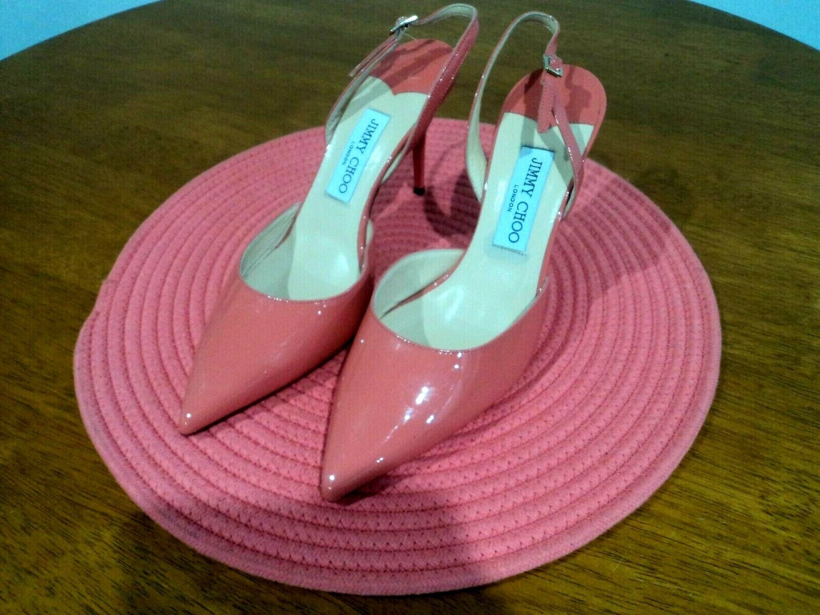 Genuine Jimmy Choo Patent Leather Coral Pink Stiletto High Heels Straps
