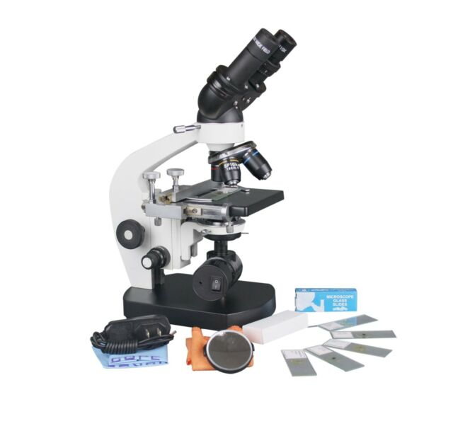 2500x Medical LED Cordless Compound Binocular Microscope w Battery & Slide Kit