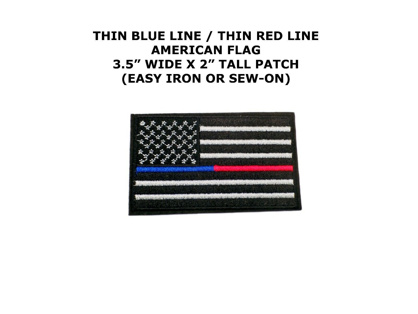 Thin Blue Red Line Police Firefighter Iron On Usa Flag Patch Ebay