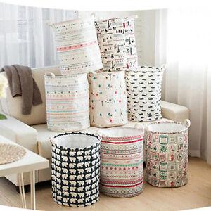 Foldable Cotton Linen Washing Clothes Laundry Basket Storage Organiser Bags
