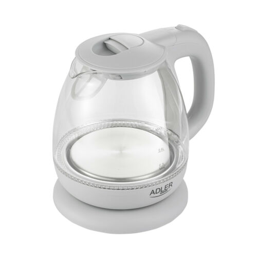 Elektrischer Wasserkocher Edelstahl Glaskessel LED 1,0 Liter Adler 1100W