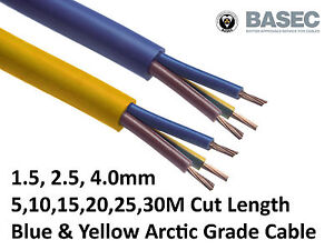 Amarillo 2.5mm 32a Cable Flex 110v de 3 núcleos del Ártico alambre al aire libre se vende por metro