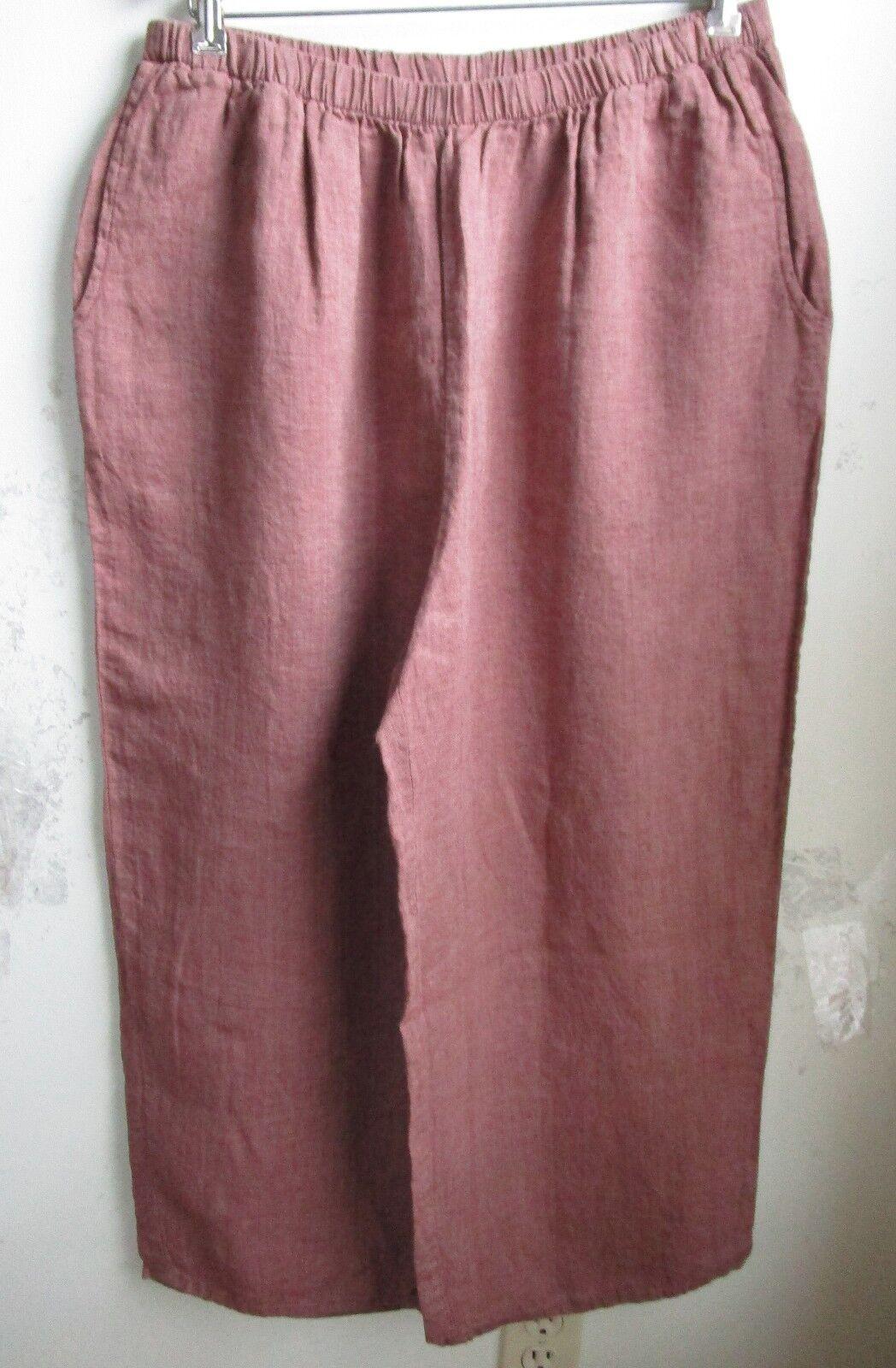FLAX Designs   LINEN PANTS   1G  NWOT   Floods Cropped Pants  pinkWOOD