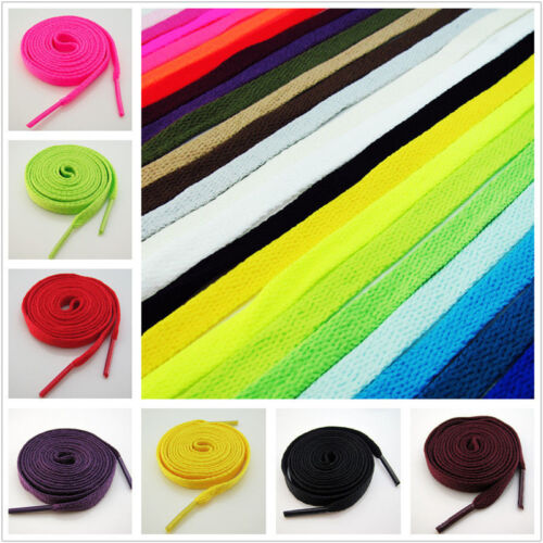 Flat Coloured Athletic Sneaker Shoe Laces Strings Shoelaces Bootlaces 130cm