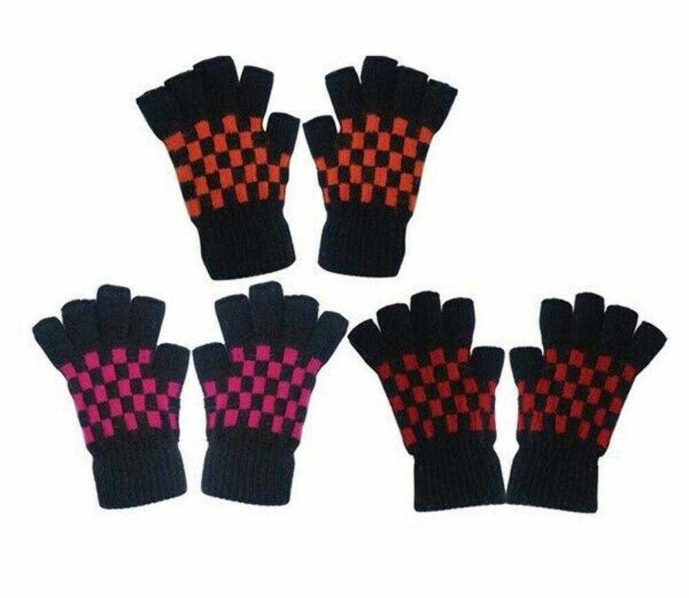 Black & Coloured Checked Fingerless Gloves Pink Orange Red