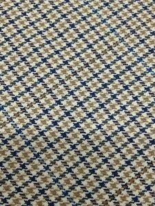 Worsted-100-Wool-Mini-Check-Tan-Blue-Beige-60-034-3-Yard-Pieces