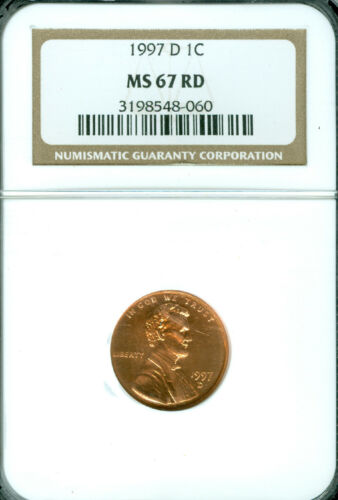 1997-D LINCOLN CENT NGC MS67 RED 2ND FINEST REGISTRY SPOTLESS *