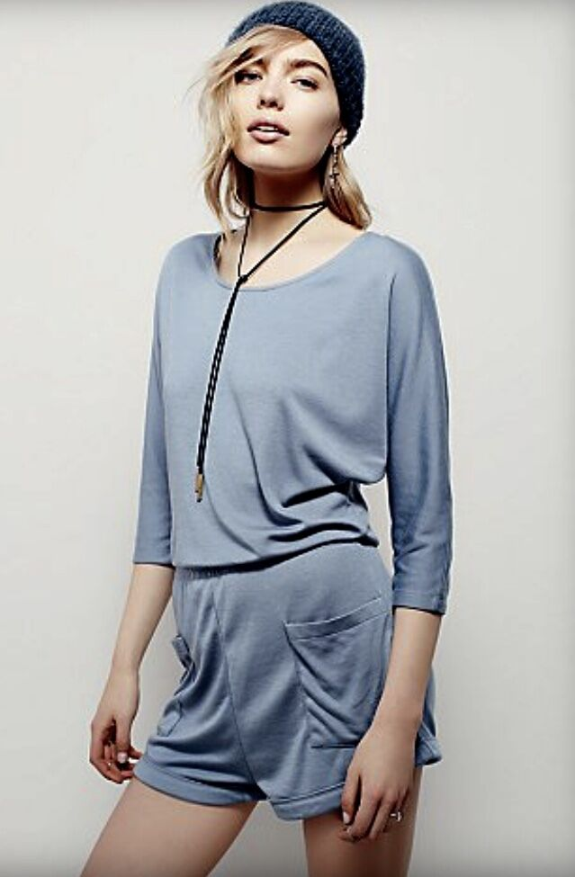 NEW Free People IFP bluee Soft Knit On Or Off Shoulder Dolman Sleeve Romper M