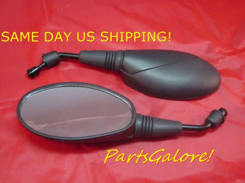 Black Oval Mirrors Mirror Set Motorcycle Scooter Moped 8mm RH Thread