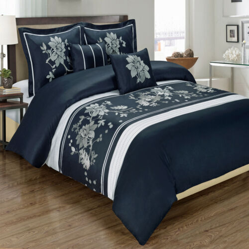 5PC 300 Thread Count Duvet Covers Myra 100/% Cotton Embroidered Duvet Cover Set