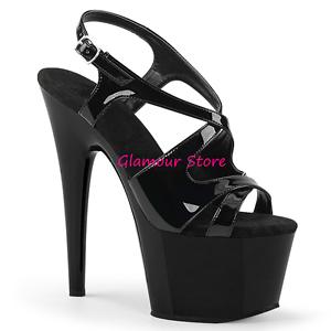 buy popular 3df2b 94372 Dettagli su Sexy SANDALI NERI tacco 18 plateau dal 35 al 42 cinturino  scarpe GLAMOUR club
