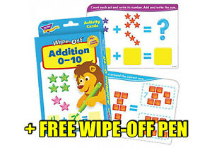 Addition 0-10 Wipe Off Flash Cards - Home Learning - INCLUDES FREE WIPE OFF PEN