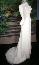 ASHLEY JORDAN WEDDING GOWN IVORY SIZE 6-8 LACE CRYSTALS BEADS COLUMN SHEATH