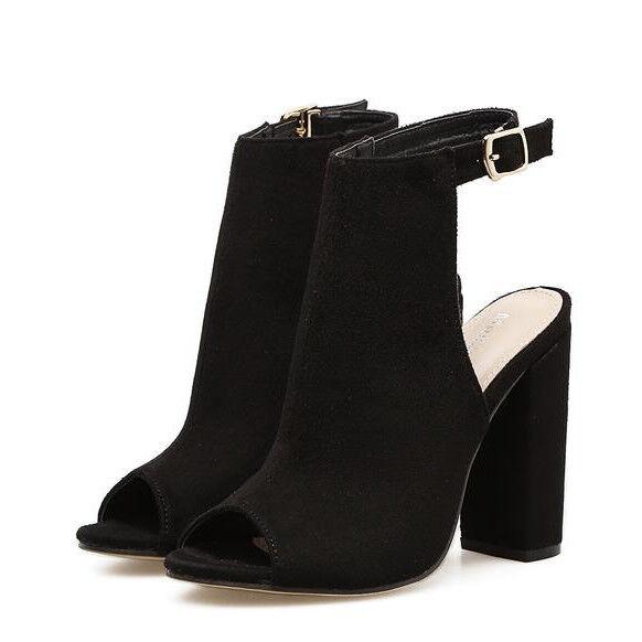 Sandalias botas verano talón cuadrado 11 cm negro como piel elegantes 9693