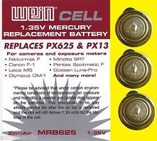 3 x BATTERIE 1,35 V WeinCell MRB 625 - RICAMBIO PX 625 PX13 - Imballo leggero