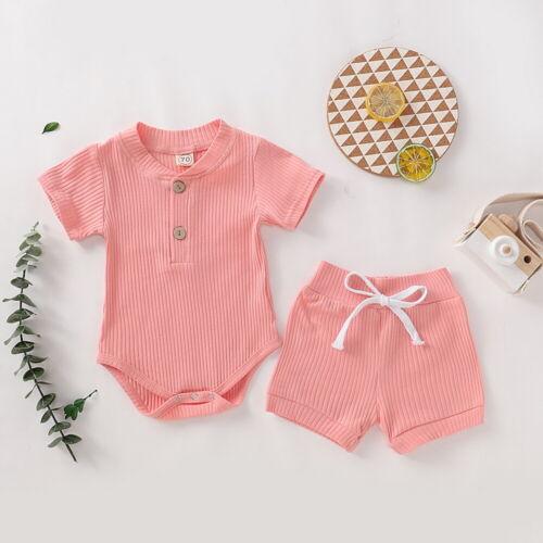 Newborn Baby Boys Girls Short Sleeve Rompers Bodysuit Shorts 2Pcs Outfits Set US