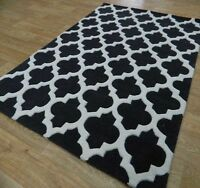 Moroccan Tile Rugs In Charcoal & Off White Modern Handmade Wool 200x285cm Large