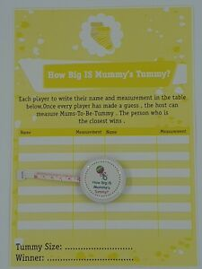 Baby Shower 24 Player Game Tape measure Baby Lemon How Big Is Mummy/'s Tummy