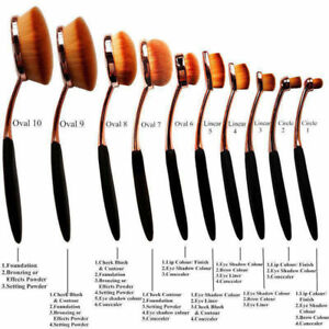 Kit 10 ou 6 pcs pinceaux maquillage brosse ovale qualité professionnelle