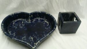 Nice-Bennington-pottery-blue-heart-baking-dish-and-candle-holder