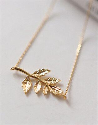women Celebrity Simple Elegant Leaves Pendant Charm Chain Necklace Gold