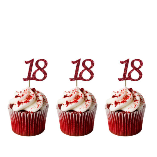 18th Birthday Cupcake Toppers Pack of 10 Glittery Light Purple Number 18