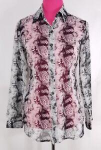 d41101e5b126d2 Image is loading Cabi-Womens-Shirt-Sheer-Snakeskin-Blouse-Animal-Print-