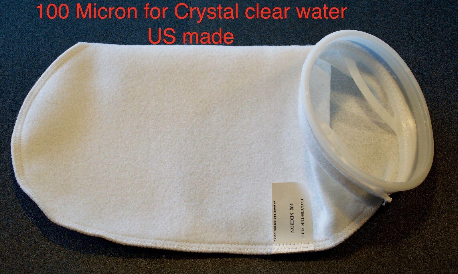 "10x's Filter Socks 7""x18"" 100 Micron Ultra clean aquarium sump Felt US made sock"