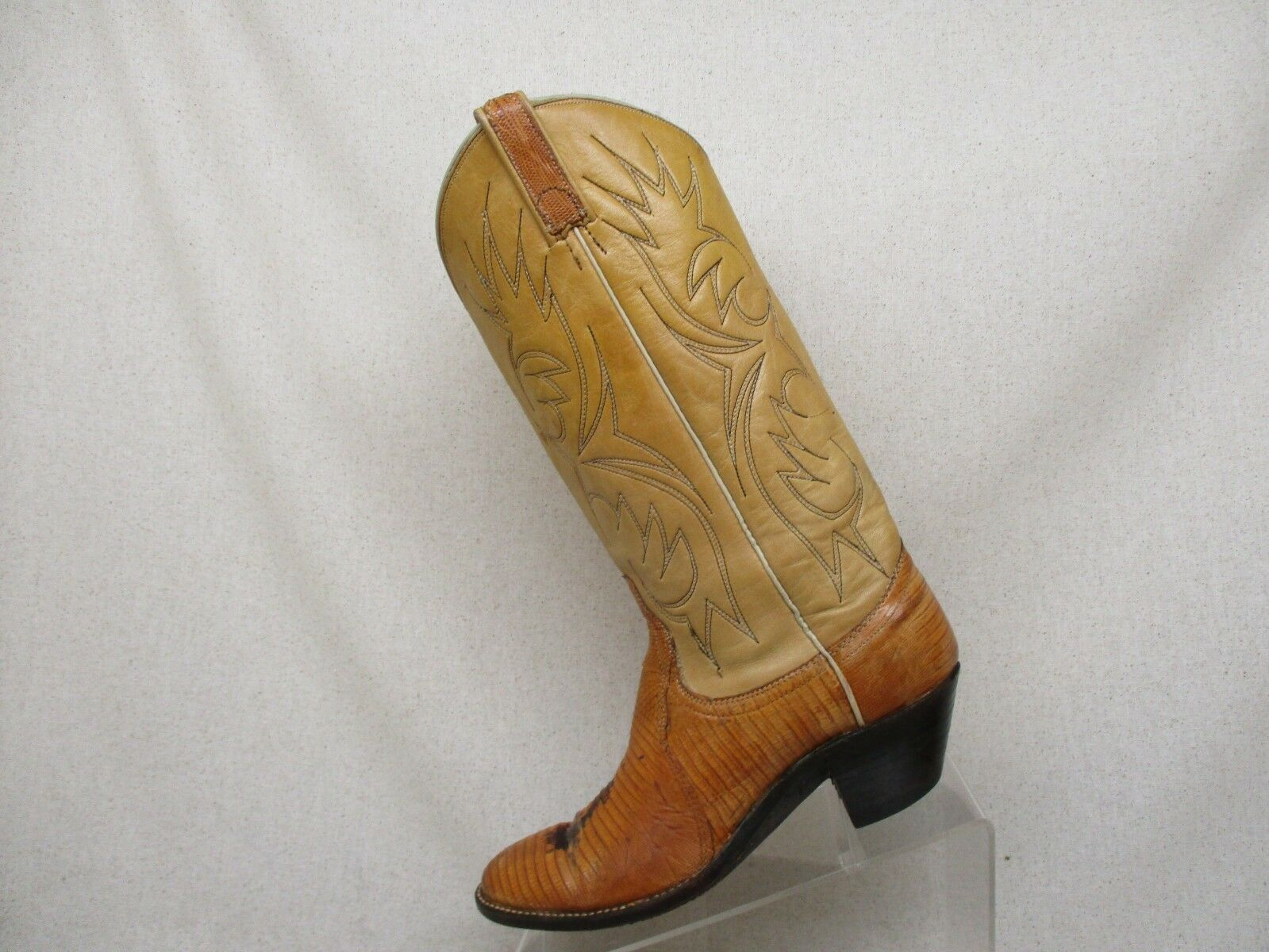 Dan Post Beige Cognac Leather Lizard Skin Cowboy Stiefel damen Sz 7.5 A - 38157