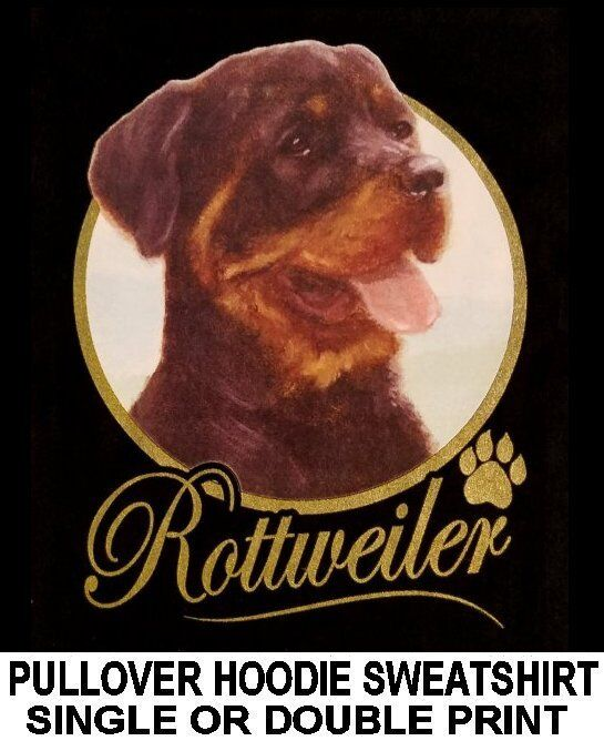 VERY CLASSY COOL ROTTWEILER DOG ART GOLD LETTERING PULLOVER HOODIE SWEATSHIRT
