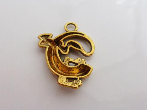 C45 Bronze 4 x Lizard Gecko Pendant Findings Charms 30mm x 24mm Antique Gold