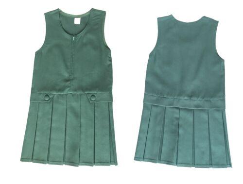 Filles front zip 2 bouton box pleat-tablier school uniform dress uk
