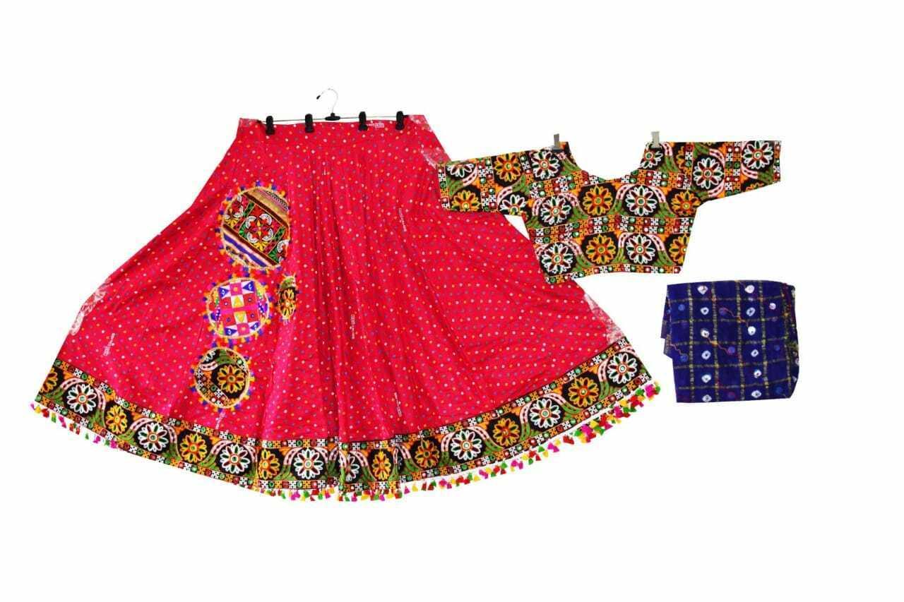 Original mirror work blouse Designer Bandhej gamthi lehnga choli