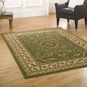 Large Small Persian Traditional Green Carpet Rugs Runners