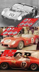 Decals Ferrari 246SP Le Mans 1961 23 1:32 1:24 1:43 1:18 slot 246 calcas