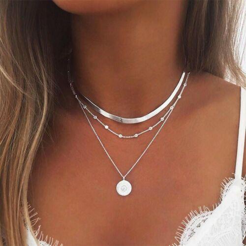 UK New Necklace Multi Layer Chain Choker Pendant Gold Silver