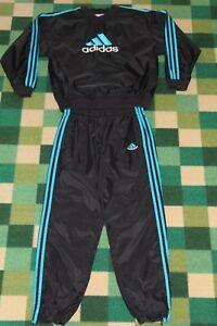 Details zu Adidas Nylon Track Suit Jogginganzug ML Schwarz Windbreaker Rain Suit Training
