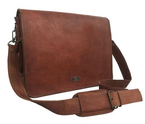 New Hommes GVB en cuir marron vintage ordinateur portable Messenger épaule Serviette Sac
