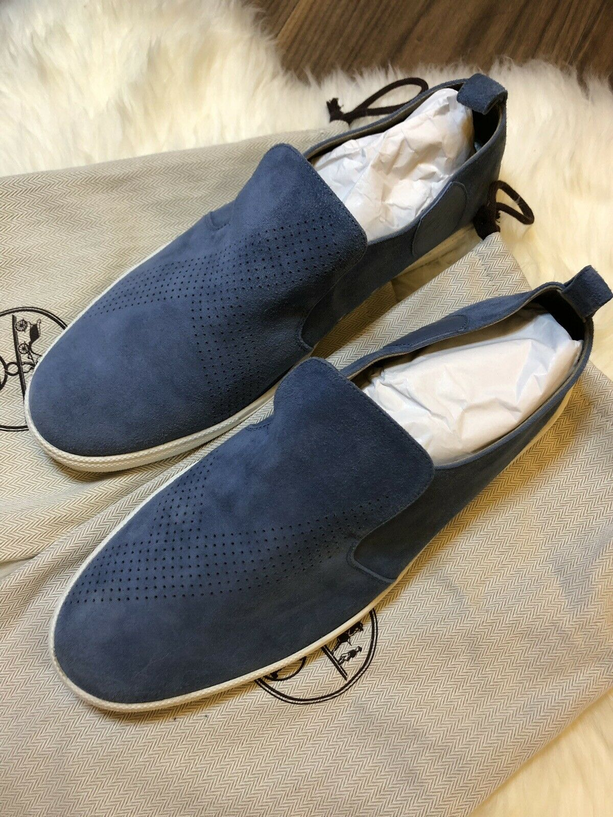 99% NEUF Hermes bleu SUEDE MOCASSIN TAILLE 43
