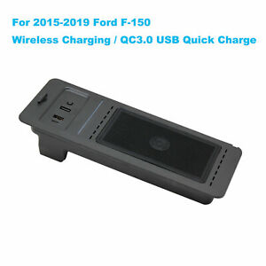 Wireless Charger QC3.0 USB Quick Charge For 2015-2019 Ford F150 F-150