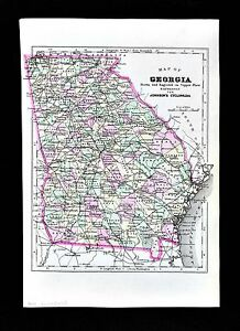 1896 Johnson Map Georgia Atlanta Savannah Athens Dalton Macon
