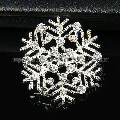 Silver Snowflake Brooch Pin Rhinestone Crystal Diamante Party Broach Xmas Gift