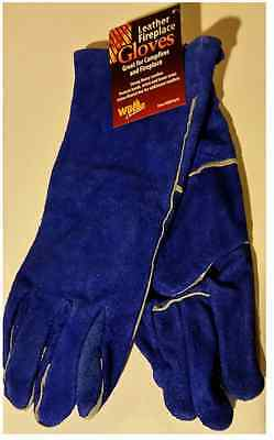 """Fireplace Woodstove Camp Fire Leather Gloves 14"""" Blue"""