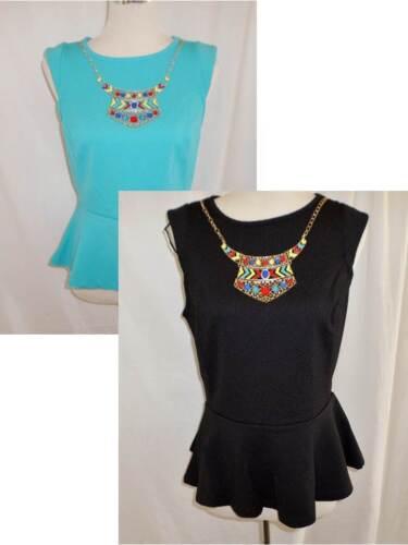 HOT OPTIONS Femmes Peplum Top /& Collier Noir Ou Cyan Bleu Taille 8-10